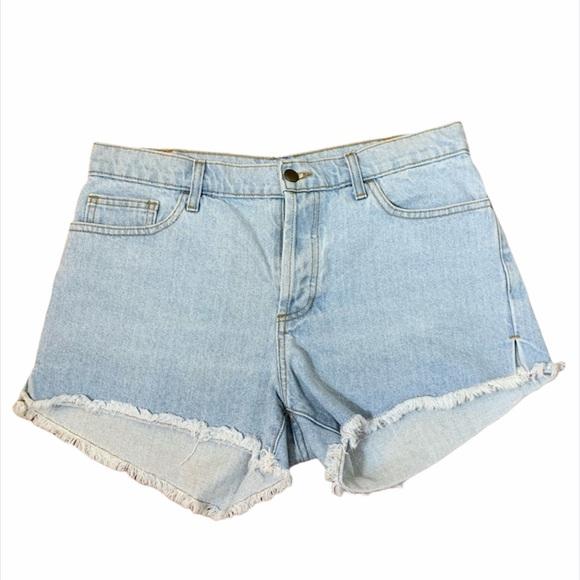 American Apparel High Rise Raw Hem Jean Shorts